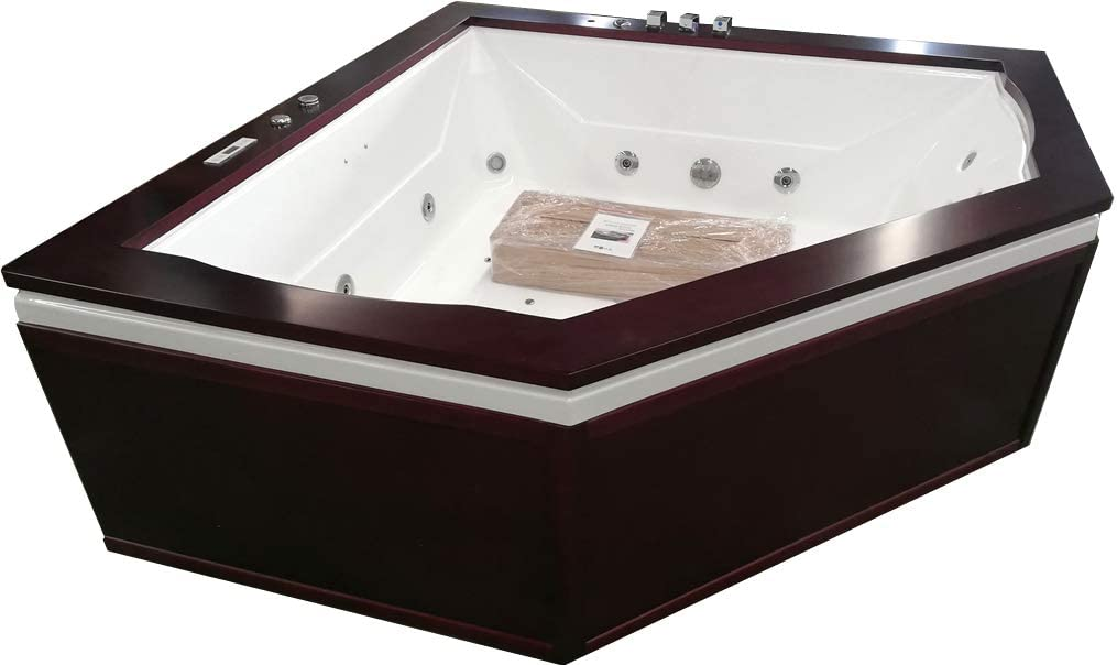Sdi Factory Direct Indoor 2 Person Whirlpool Hydrotherapy Massage Spa Bathtub Corner Bath Tub W Heater Bluetooth Remote Control Garden Outdoor