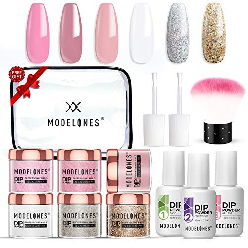 Dip Powder Nail Kit Starter Dip Powder 6 Nude Color Dip Powder Nail Kit French Nail Dip Acrylic Dip Powder Essential Kit For Manicure Nail Art MODELONES