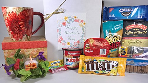 Mother's Day Gift Box Basket - Send Your Happy Mother's Day Wishes Today With This LANG Boxed Mug, A Candle, and Some Tasty Treats! (Send A Gift Basket Today)