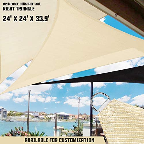 TANG Sunshades Depot Sun Shade Sail Right Triangle Permeable Canopy Custom Commercial Standard Beige 24 x24 x34 240 GSM