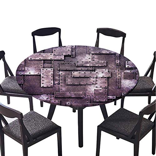 SATVSHOP Simple Modern Round table-60 Round-Daily use, Wedding, Restaurant,Industrial usty Style Fix Metallic Wall Digital Textured Sci Fi Backdrop Artisan Graphic Mauve.(Elastic Edge)