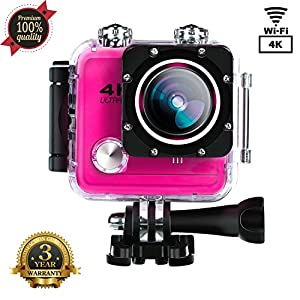 Sports Camera Sport Video 4K 1080P HD WIFI Action Camera 16MP Waterproof Camcorder Underwater 30M Cam with 170 Wide Angle Rechargeable Battery DV Pink