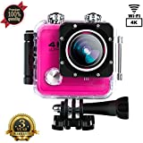 Action Camera SOUTHSTARDIGITAL  4K WIFI 16MP Waterproof Sports Camera Camcorder Underwater 30M HD Sport Video 170 Wide Angle Cam Rechargeable Battery DV Pink