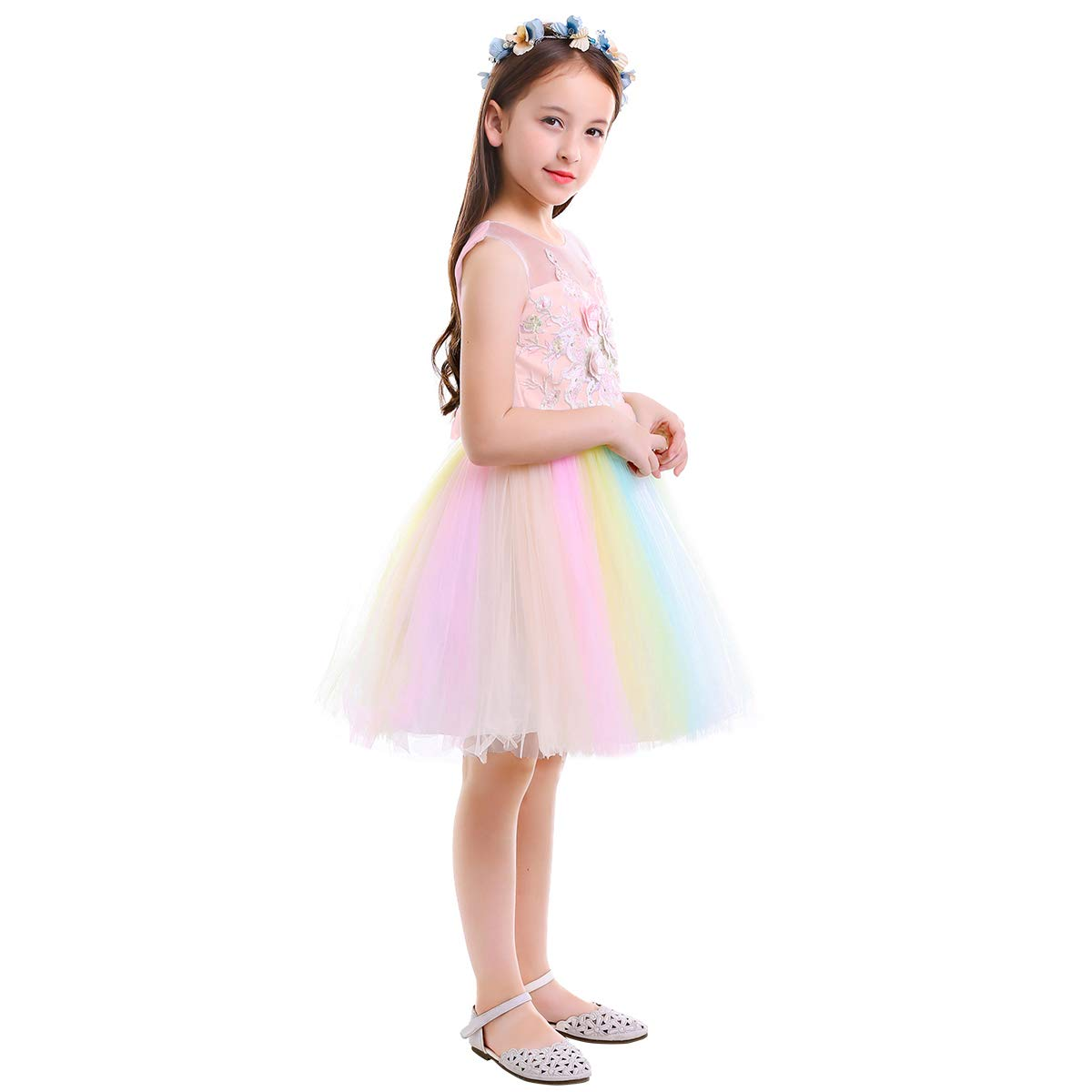 IMEKIS Flower Girls Unicorn Rainbow Dress Embroidery Floral Birthday Party Gown