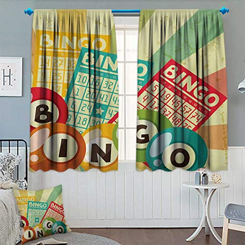 Chaneyhouse Vintage Window Curtain Fabric Bingo Game with Ball and Cards Pop Art Stylized Lottery Hobby Celebration Theme Drapes for Living Room 72'' W x 45'' L Multicolor by Chaneyhouse