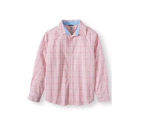 936eafed2 Wonder Nation Boy's Long Sleeve Stretch Button Down Plaid Shirt (X-Small 4/