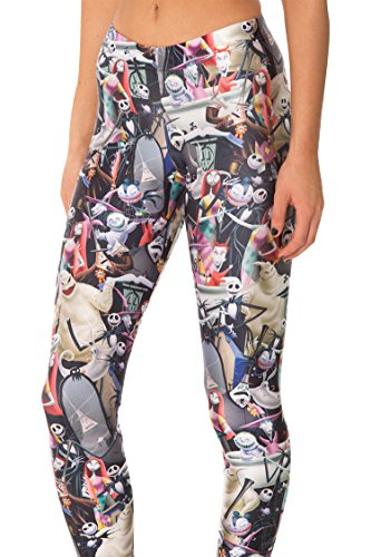 COCOLEGGINGS Nightmare Before Christmas Printed Ankle Length Leggings Workout (The Nightmare Before Christmas Fabric Material)