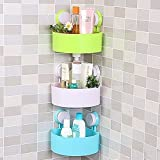 Orpio 3 Bathroom Kitchen Storage Organize Shelf Rack Triangle Shower Corner Caddy Basket with Wall Mounted Suction Cup (Multi Color)