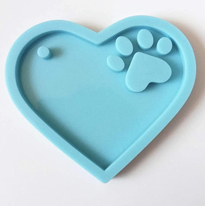 Epoxy Resin Silicone Mold Love Heart Paw Keychain Crystal Craft Casting Mould