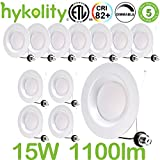Hykolity 5/6 Inch LED Recessed Downlight, 15W 1100LM Dimmable Retrofit Recessed Can Downlight, 5000K Daylight, Damp Location, 65W BR30 replacement- 12 Pack