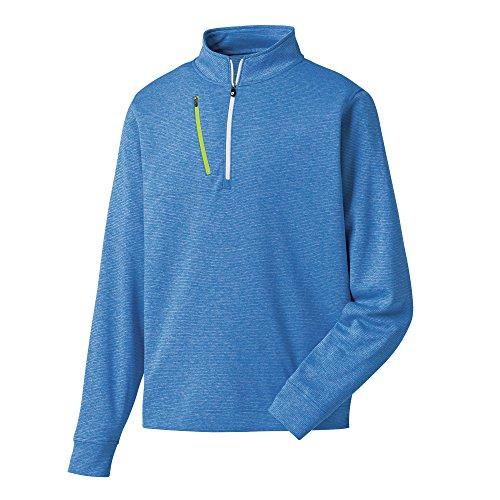 FootJoy Heather Pinstripe Half-Zip Golf Pullover (Heather Royal/Lime, Large)
