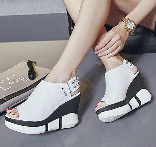 Female Toe Sandals White Slingback Black High Women Wedge Sandals Platform Heels Peep White Pumps xBSqx4wY