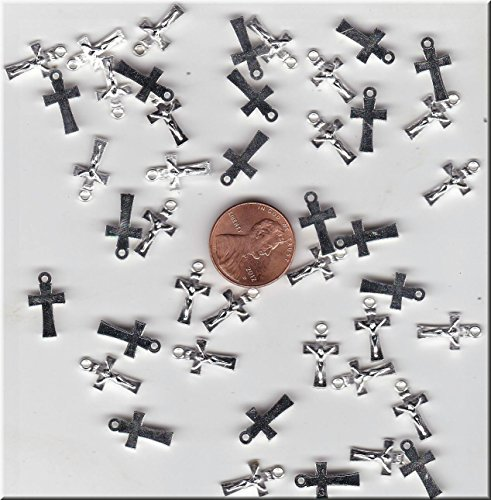 OutletBestSelling Pendant Beads Bracelet YOU GET 50 SILVER TONE MINI RELIGIOUS CRUCIFIX CROSS CHARMS
