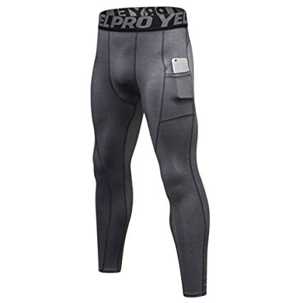 262e14bee627c3 GROOMY Mens Plus Size Solid Color Compression Long Pants Pockets Cool Dry  Sport Leggings Elastic Letters Waistband Baselayer Running Tights 6 Colors:  ...