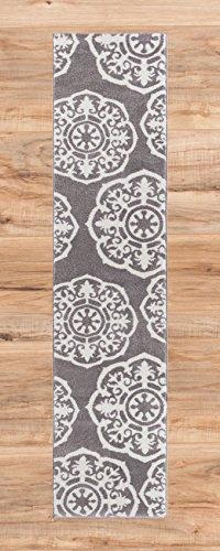 Lali Dials Suzani Grey Ivory Modern Area Rug Area Rug 2x7 ( 2'3