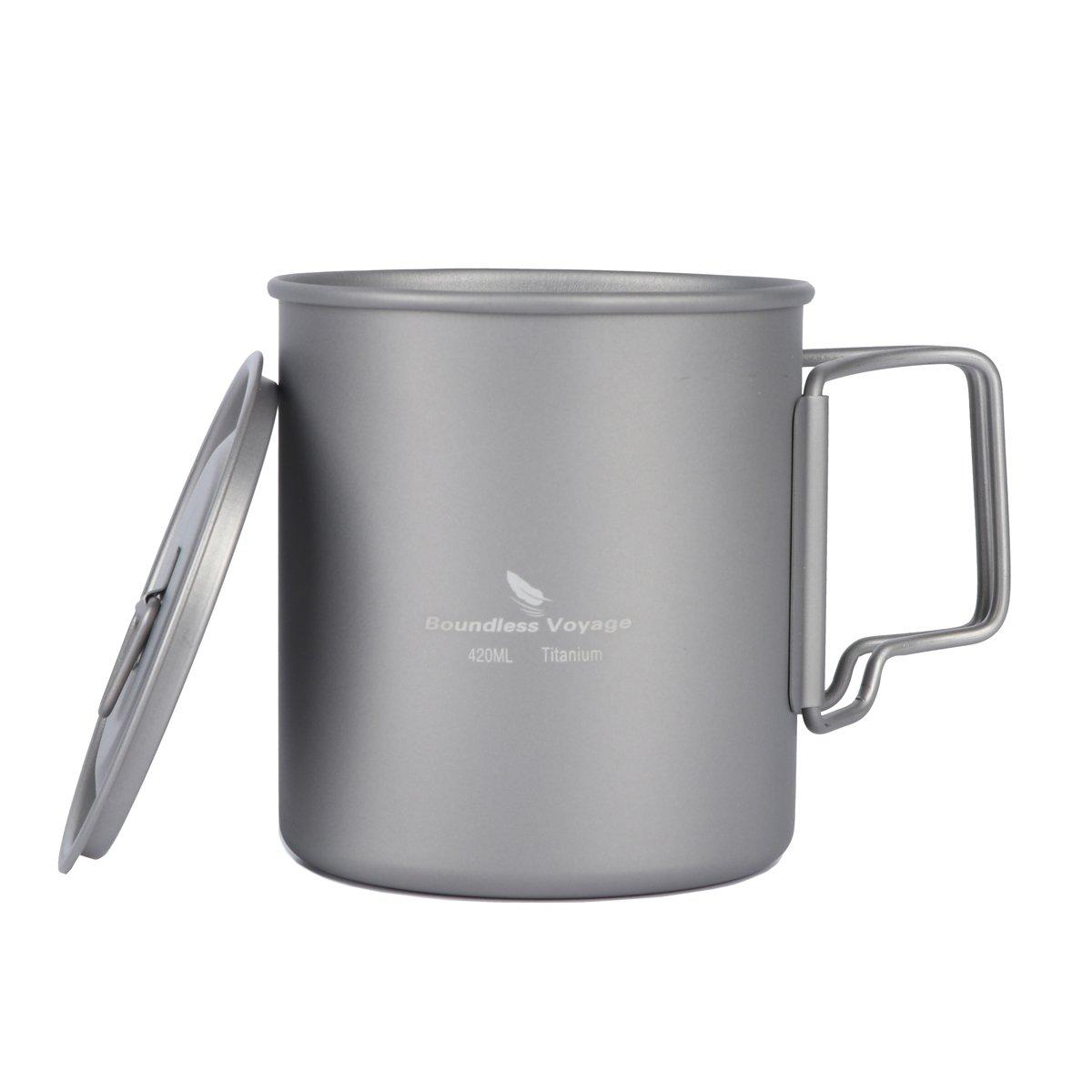 iBasingo 420ml tazza di titanio con copertura esterna caffè tazza di acqua potabile Ultralight solo 89.2g