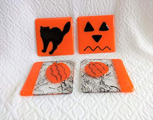 Fused Glass Halloween Coaster Set of Four