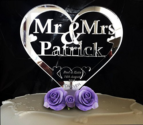 Custom Heart Shape Mr and Mrs Personalized Last Name Bride and Groom Name Wedding Date Forever Wedding Cake Toppers