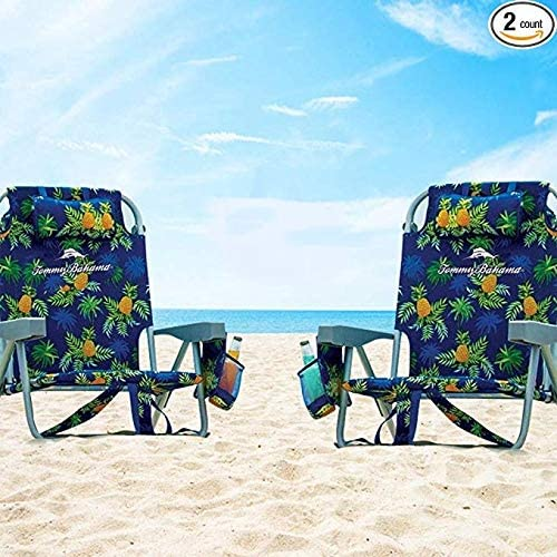 2 Tommy Bahama Backpack Beach Chairs Blue