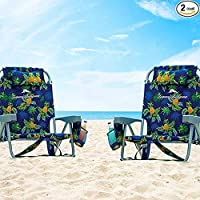$94 » 2 Tommy Bahama Backpack Beach Chairs Blue/Pineapple
