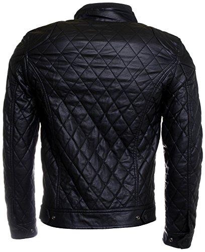 Young & Rich uomo transizione-giacca trapuntata Biker letec lederpflege giacca nero