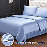 LilySilk Real Silk Duvet Cover King Bed 19 Momme Pure Silk Seamless Light Blue