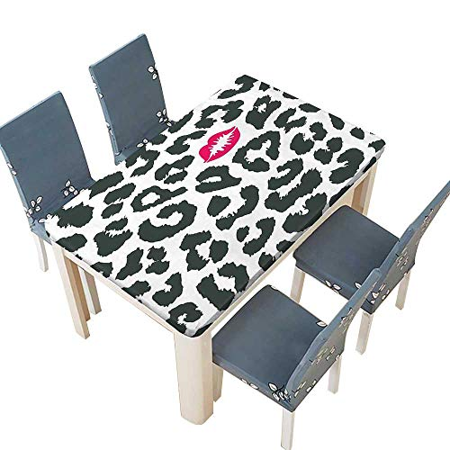 PINAFORE Polyester Tablecloth Table Cover Cheetah Print with Kiss Lipstick Mark Dotted Trendy Art Black White Red for Dining Room W57 x L96.5 INCH (Elastic Edge) ()