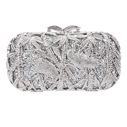 Fawziya Bamboo Crane Pattern Crystal Clutch Purse Rhinestone Clutch Evening Bag-Silver