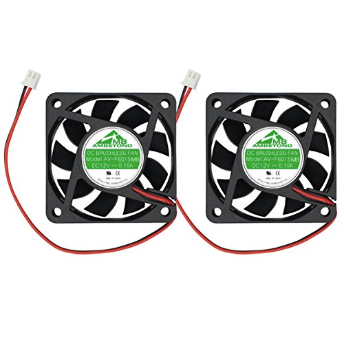 Security-01 2-Pack 60mm by 60mm by 15mm 6015 12V DC 0.10A Ball Bearing Brushless Cooling Fan 2pin AV-F6015MB UL (Brushless Cooling)