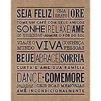 Litoarte-Placa Decorativa Seja Feliz, Marrom, 19 x 24 cm, 1 unidade