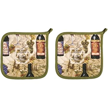 Now Designs Basic Potholders, Wine Labels, Set of 2