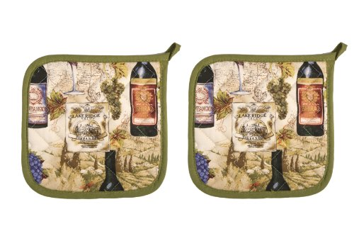 Now Designs Basic Potholders, Wine Labels, Set of 2 by Now Designs