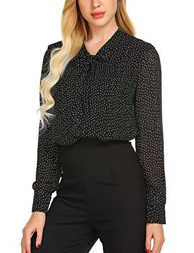 Tie Black Clothes (ACEVOG Women's Fashion Blouses Long-Sleeve V-Neck Bow Tie Blouse,Black Polka Dot,Medium)