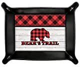 Lumberjack Plaid Genuine Leather Valet Tray (Personalized)