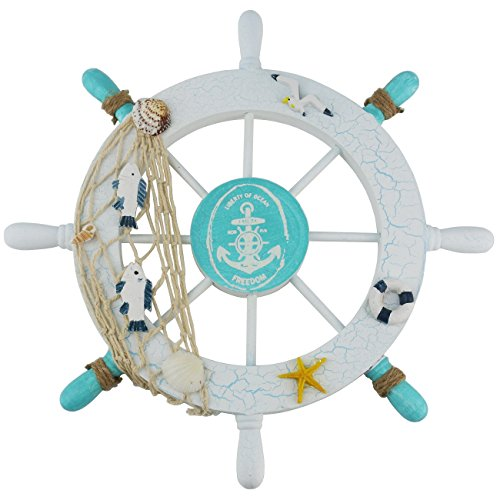 Ogrmar Mediterranean Nautical Wooden Boat Ship Steering Wheel/Handcrafted Wooden Ship Wheel Pirate Decor Wall Door Hanging Ornament Plaque (White Fish)]()