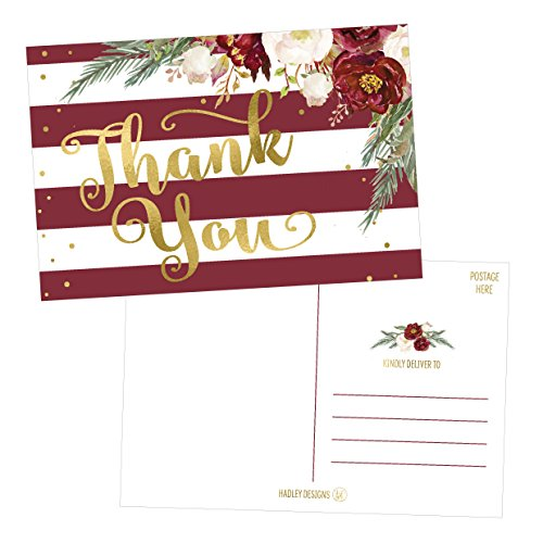 25 4x6 Blank Christmas Holiday Thank You Postcards Bulk, Cute Modern Fancy Winter Note Card Stationery For Wedding, Bridesmaids, Bridal or Baby Shower, Teachers, Appreciation,Religious, Business Cards (Bridesmaid Wedding Greeting Card)