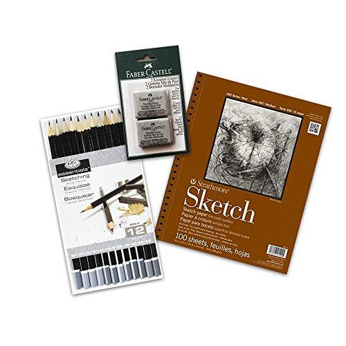 Eraser Set 2 (Artists Sketching Set - 2 Pack Faber-Castell Kneaded Erasers, Royal & Langnickel Essentials 12 Pencil Set, Strathmore Series 400 Sketch Pad)