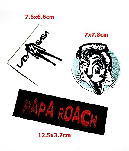Set MUSIC Lady Gaga Stray Cat papa roach Music Band Patch Sew Iron on Logo Embroidered Badge Sign Emblem Costume BY - Gaga Lady Cat