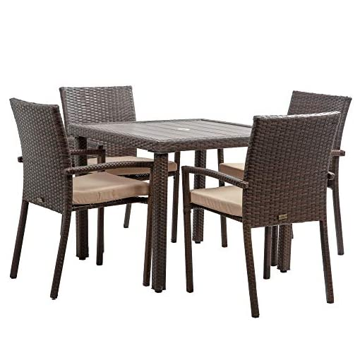 Garden and Outdoor BELLEZE Mariel 5 Pieces Outdoor Patio Dining Set Wicker Slat Table with Umbrella Cut Out and 4 Cushioned Chair, Brown patio dining sets