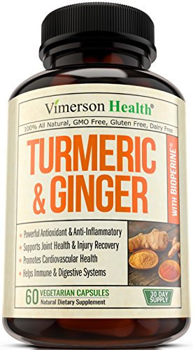 Turmeric Curcumin with Ginger & Bioperine – Best Vegan Joint Pain Relief, Anti-Inflammatory, Antioxidant & Anti-Aging Supplement with 10mg of Black Pepper for Better Absorption. 100% Natural Non-GMO