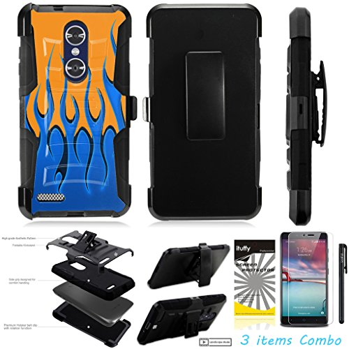 For ZTE MAX XL N9560 /3Items [Clear LCD Film]+Stylus Pen+[Impact Resistance] Dual Layer [Belt Clip] Holster Combo [KickStand] Phone Case Orange Flame - Black