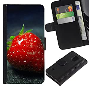 Ihec-Tech / Flip PU Cuero Cover Case para Samsung Galaxy S5 V SM-G900 - Strawberry