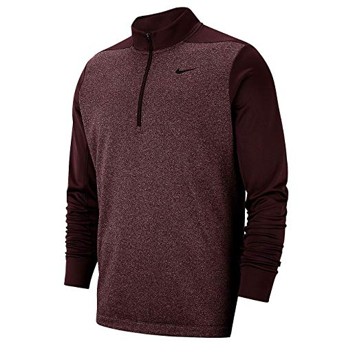 (Nike Men's Mock Neck Long Sleeve Quarter-Zip Dri FIT Therma Pullover Golf Jacket (Burgundy Crush HTR, Large))