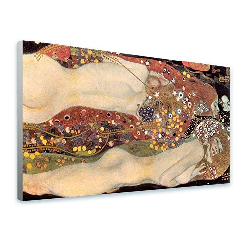 (Alonline Art - Water Serpents Snakes Gustav Klimt Framed Stretched Canvas (100% Cotton) Gallery Wrapped - Ready to Hang | 21