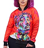 Abetteric Womens Baseball Hip Hop Graphic Print College Jacket M Red