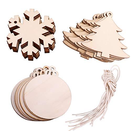 click-me 30Pcs Mixed Christmas Wooden Ornaments Hanging Cutouts