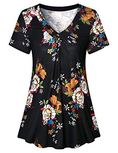 Luranee Modlily Tops for Women, Short Sleeve Flattering Work Shirts V Neck Elegant Blouses Pleated Front Vivid Patterns Hawaii Style Dressy Clothing Cute Office Trips Holiday Outfits Black -