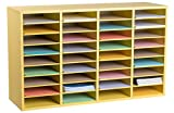 AdirOffice Wood Adjustable Literature Organizer (36 Compartment, Yellow)