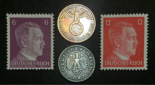 Authentic Rare Nazi 3rd Reich Coins with SWASTIKA and HITLER Stamp Collection Lot, Long history - Long time worth, Suitable for collectors