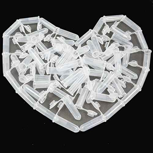 Bleiou 100pcs 2mL Plastic Vial Tube Sample Storage Container Fragrance Beads Liquid